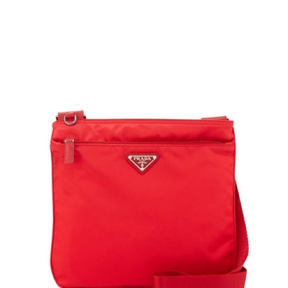 2a408f49 Authentic 1990s Red Nylon Crossbody Prada Bag